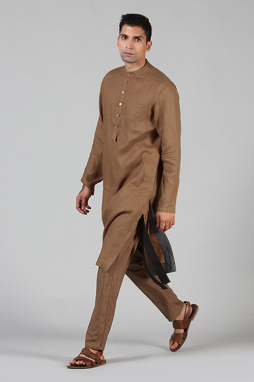 Bronze Lined Long Kurta | Pure Hemp