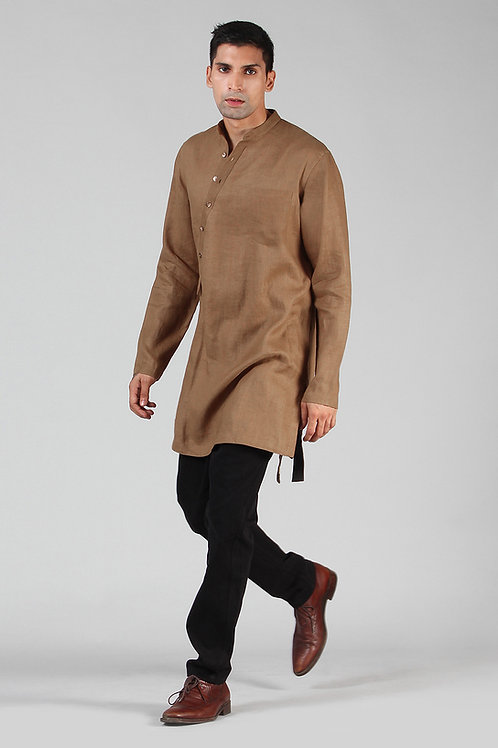 Bronze Asymmetric Lined Kurta | Pure Hemp