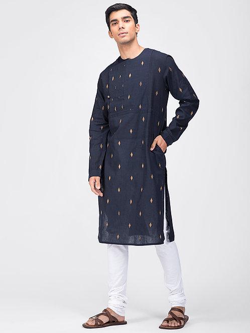 Angrakha Kurta | Navy Hand-woven Mangalgiri Cotton