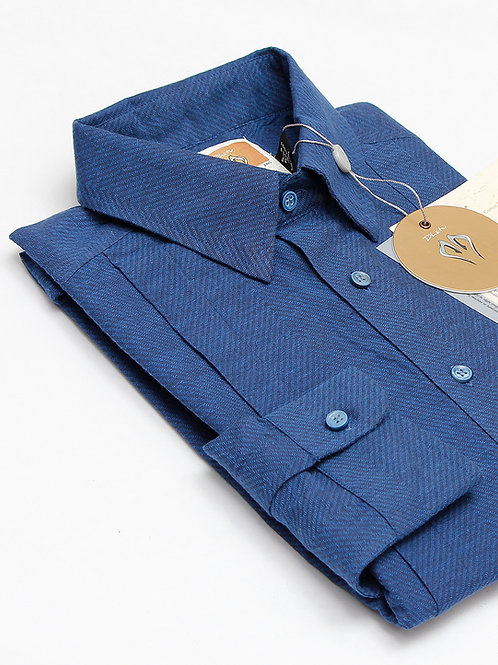 Edge Dress Shirt | Indigo Handwoven Chevron