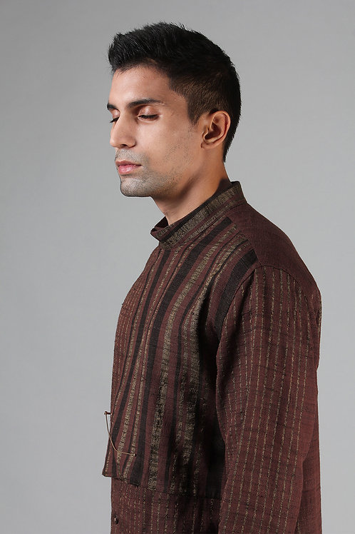 Chestnut Brown Cowl Collar Dress Shirt | Ahimsa Silk Brocade