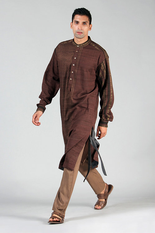 Chestnut Brown Masutā Lined Kurta | Handloom Ahimsa Silk Brocade
