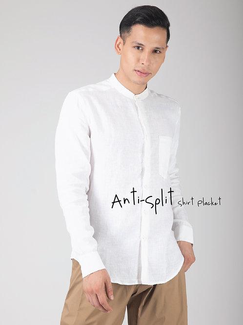 The Minimalist | White Linen Mandarin Collar Fitted Shirt