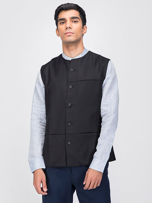 Black Woollen Sleeveless Jacket
