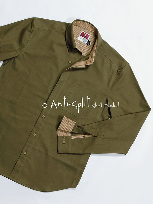 Olive Cotton Button-down Collar Casual Shirt