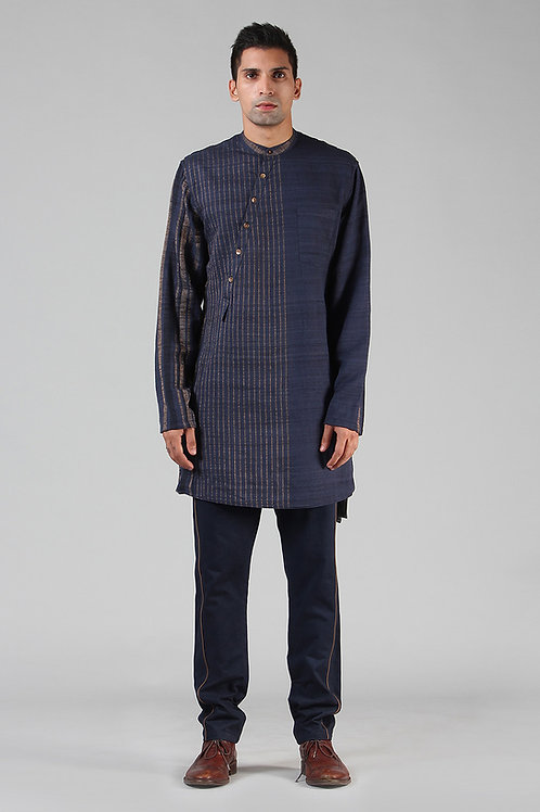 Navy Asymmetric Lined Kurta | Handloom Ahimsa Silk Brocade