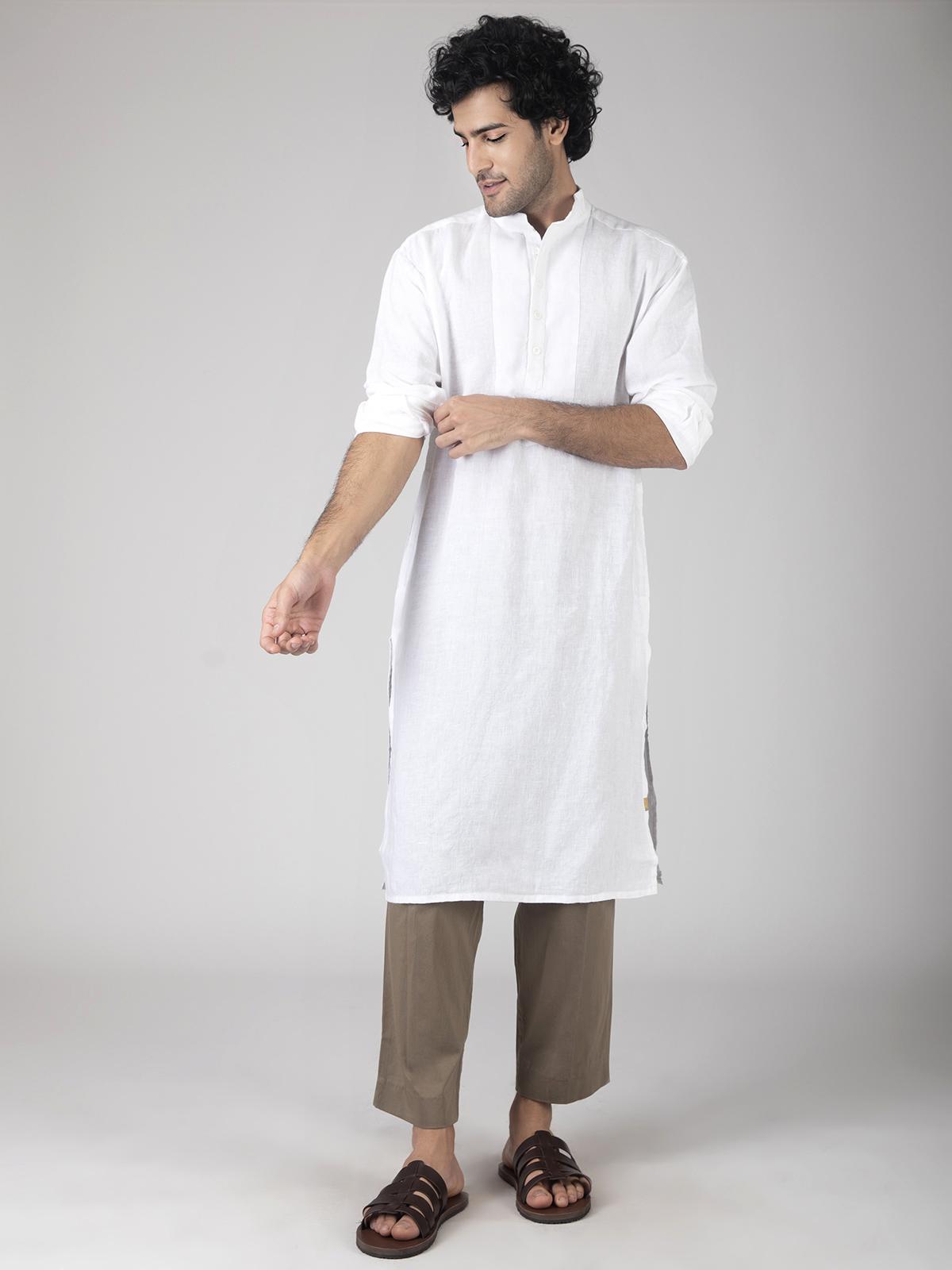 White linen kurta for men
