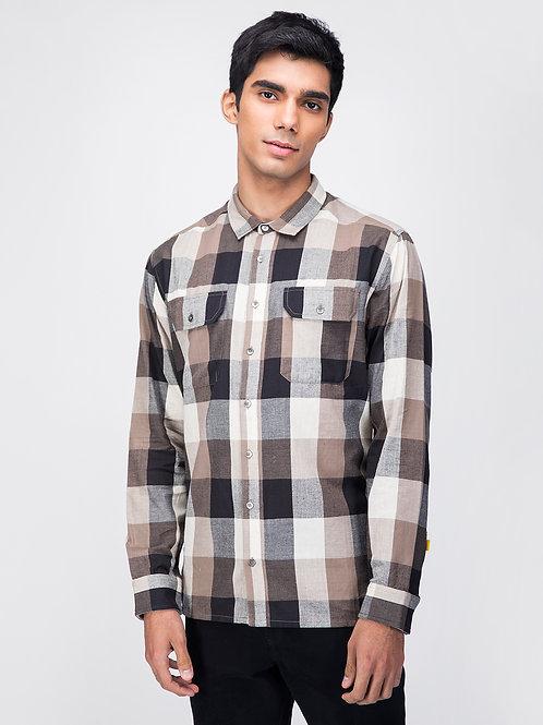 Brown Check Straight Hem Utility Shirt