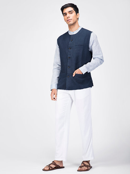 Navy Linen Sleeveless Jacket