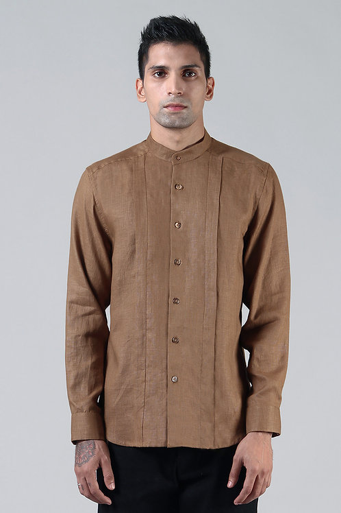 Bronze Pleated Dress Shirt | Pure Hemp