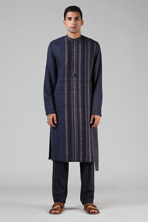 Navy Lined Long Kurta | Handloom Ahimsa Silk Brocade