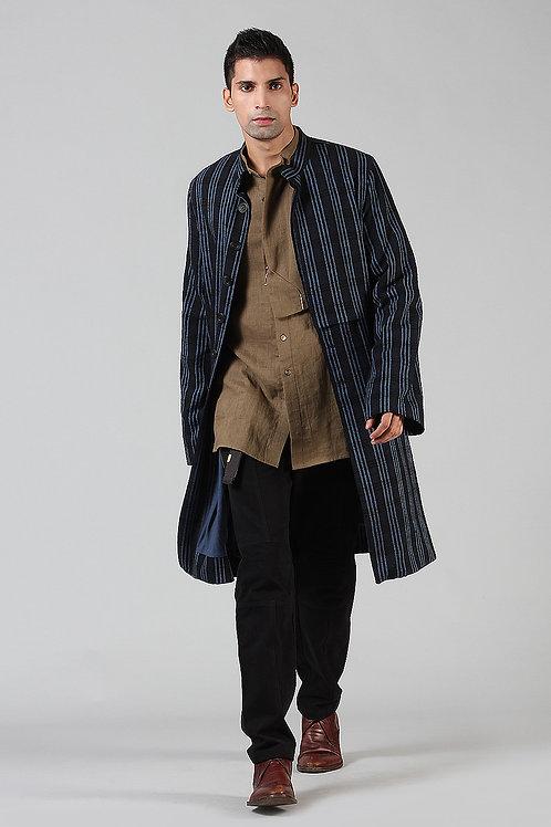 Blue Stripes Long Jacket | Ahimsa Silk