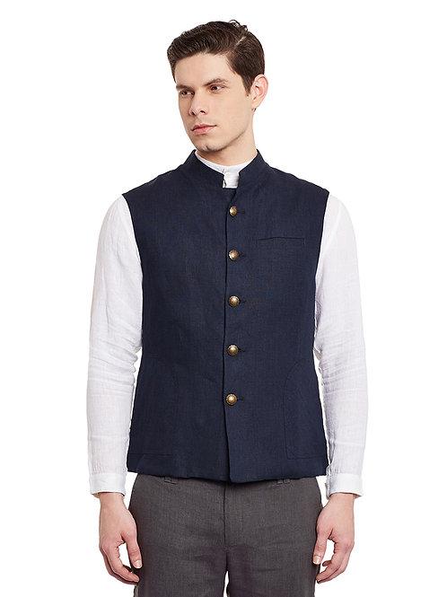 Navy Blue Linen Fitted Nehru Jacket