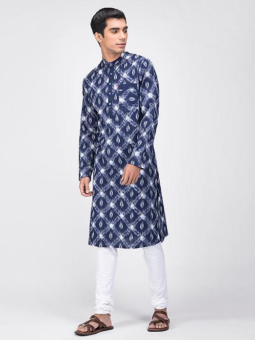Basic Long Kurta | Indigo Handloom Double Ikat