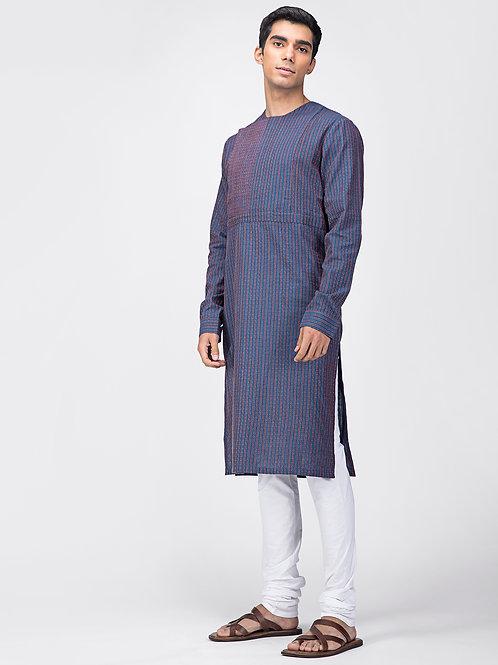 Achkan Kurta | Blue Kantha Stripe Cotton