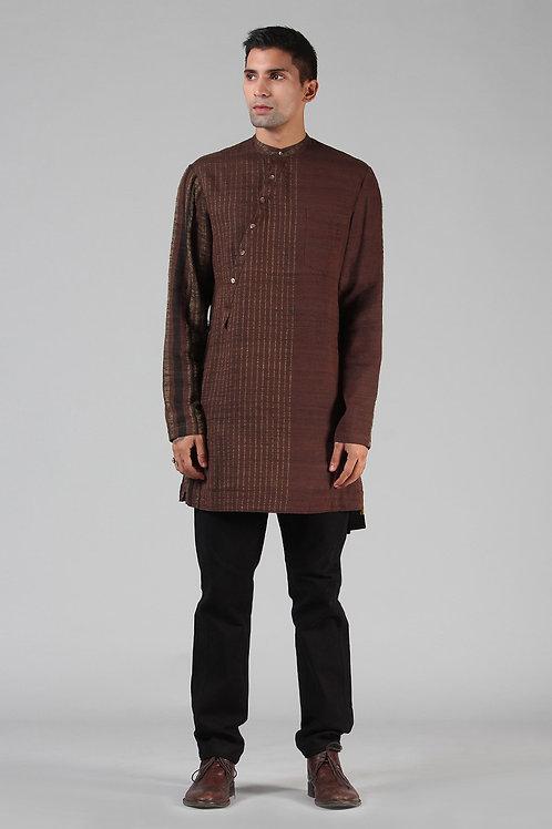 Chestnut Brown Asymmetric Lined Kurta | Handloom Ahimsa Silk Brocade