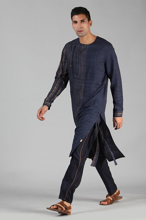 Navy Angrakha Kurta | Handloom Ahimsa Silk Brocade
