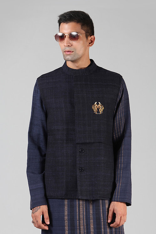 Navy Cowl Collar Waist Coat | Ahimsa Silk