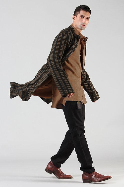 Beige Stripes Long Jacket | Ahimsa Silk