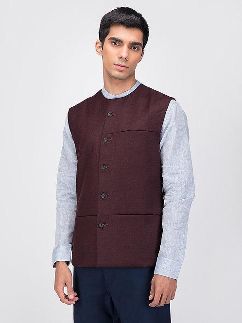 Maroon Woollen Sleeveless Jacket