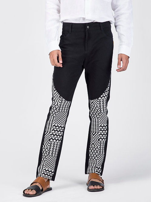 Black Geometric Tapered Jeans