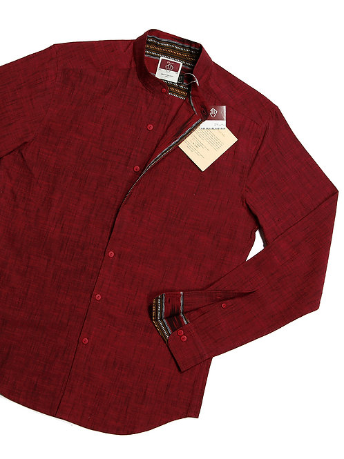 Anti-Split Fitted Casual Shirt | Maroon Hand-woven Cotton