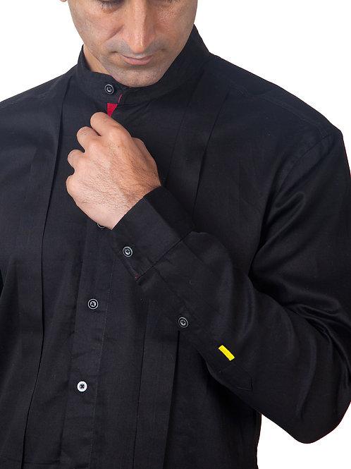 Black Pleated Mandarin Collar Shirt