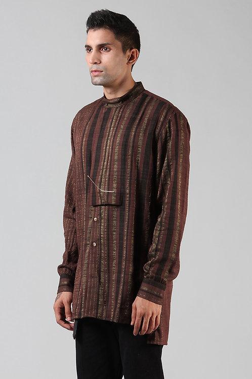 Chestnut Brown Embroidered Latitude Shirt | Ahimsa Silk Brocade