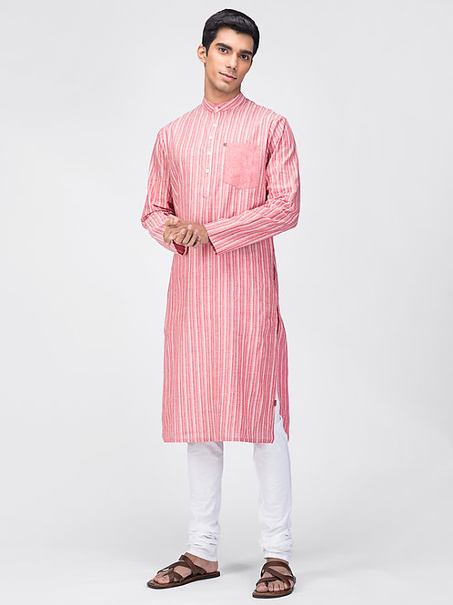 Basic Long Kurta | Chateau Rose Handwoven Cotton Stripes