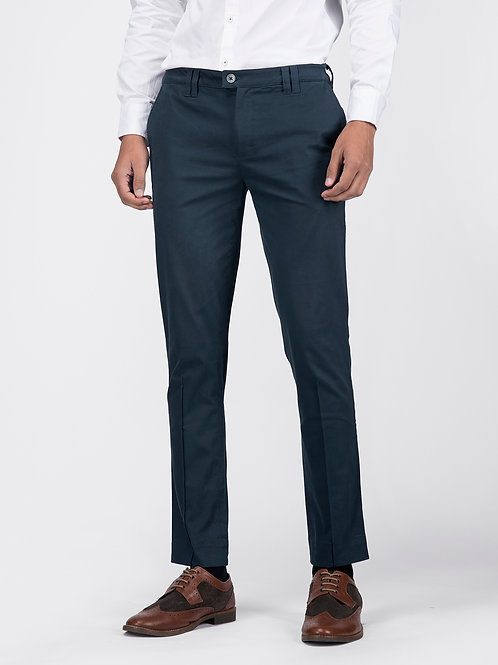 Teal Cotton Slim Fit Trousers