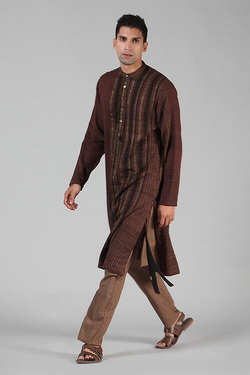 Chestnut Brown Lined Long Kurta | Handloom Ahimsa Silk Brocade