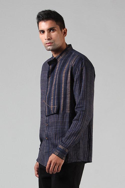 Navy Cowl Collar Dress Shirt | Ahimsa Silk Brocade