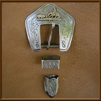 "5/8"" White Bronze Cutter Buckle Set"