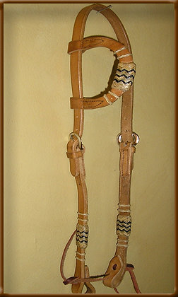 Sliding Ear Headstall with 8 Plait Braid