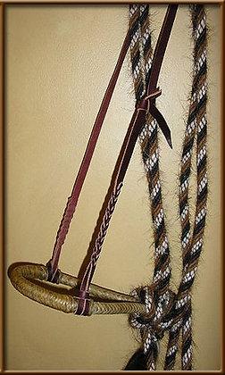 "5/8"" 8 Plait Bosal 5/8 Mane Hair Mecate Vaquero Style Latigo Hanger"