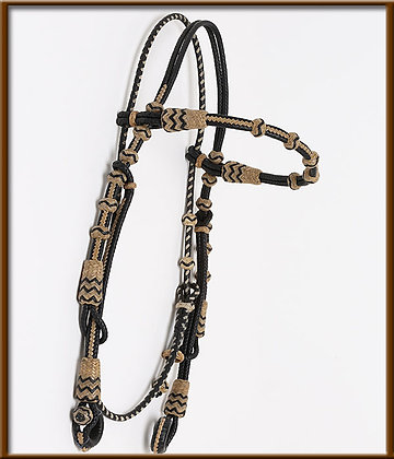 Browband Headstall Rawhide and  Kangaroo Leather. Guitron Braiding Design