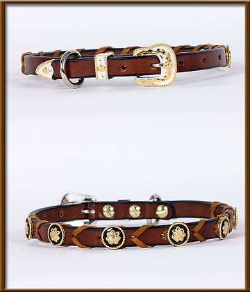 """5/8"""" Laced Collar with Silver and Gold Buckle and Conchos"""