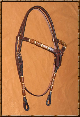 Benny Braid - Dyed Rawhide with Light Accents  Color Shown - Dark