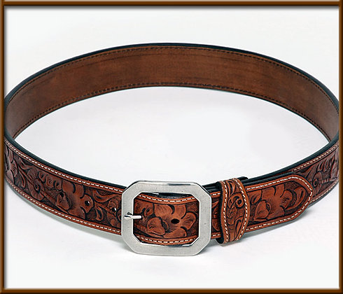 Hand Tooled Belt. Comes with  Stainless Buckle. Can be used with Trophy Buckles.