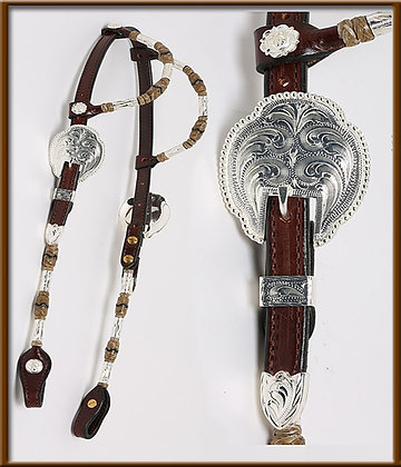 2-Ear Chocolate Headstall With  Rolled Ears and Cheeks. Silver Ferrel and Rawhid