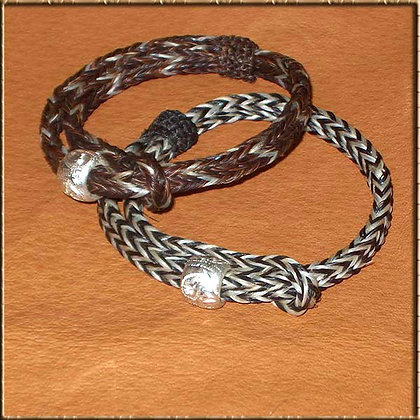 Horse Hair Adjustable Bracelet with Silver Ball
