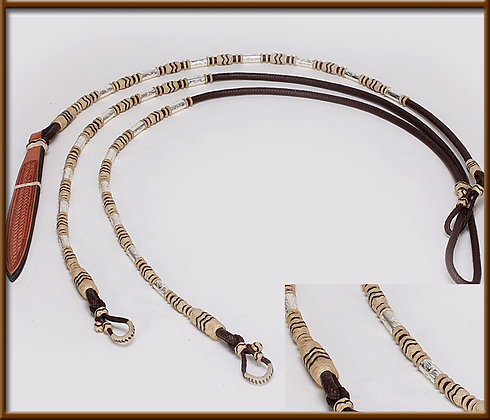 Ortega Style Trail Reins Chocolate  With Rawhide Buttons and Traditional Silver