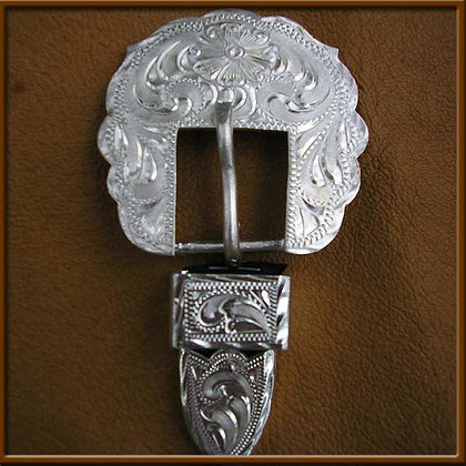 """5/8"""" Silver Overlay Scallop Buckle"""