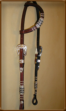 Bridle Leather 8 plait  Silver Gold Buckle Headstall