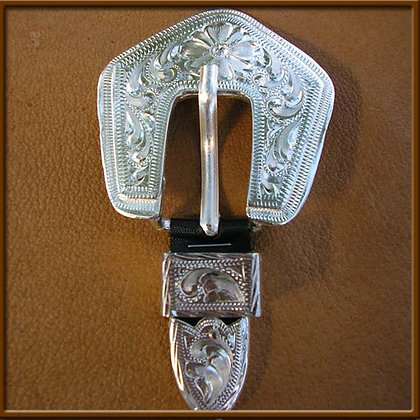 "5/8"" Silver Overlay Diamond Buckle"
