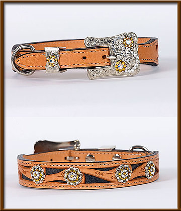 "1"" Tapered Tooled Collar with Back Inlaid Leather with Crystal Buckle & Conchos"