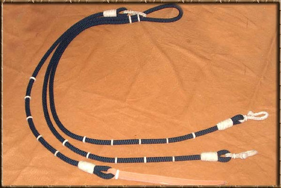 Nylon Black Reins with Rawhide Buttons