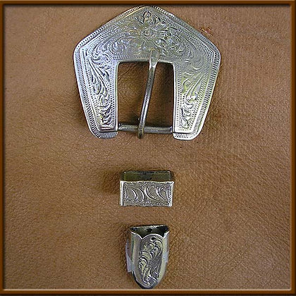 "5/8"" White Bronze Diamond Plain Buckle Set"