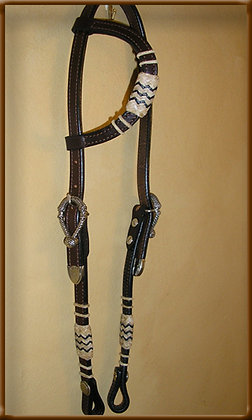 2-Ear Lt Oil Headstall with  Rolled Ears and Cheeks. Silver Ferrels and Rawhide