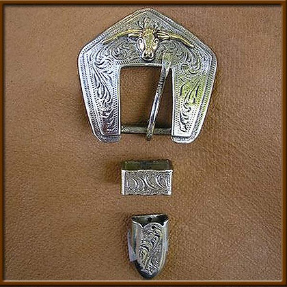 "5/8"" White Bronze Steer Head Buckle Set"